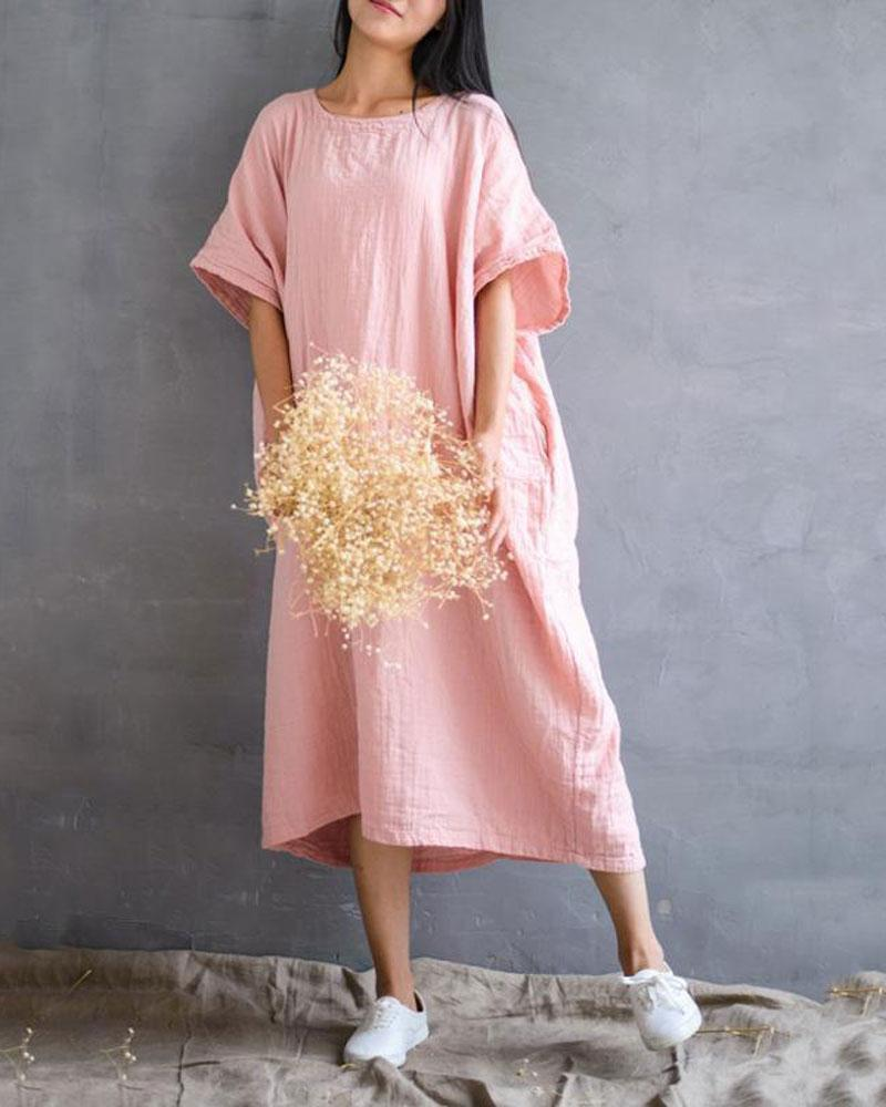Retro Linen Dress Gown with Pockets