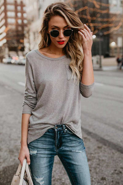 Solid Color Round Neck Pocket T-shirt
