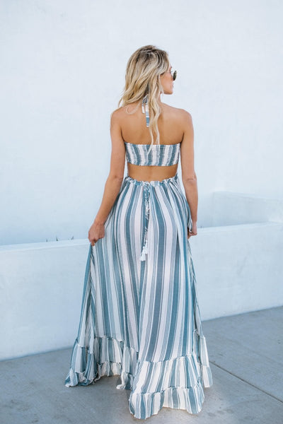Gotta Split Striped Ruched Halter Maxi Dress