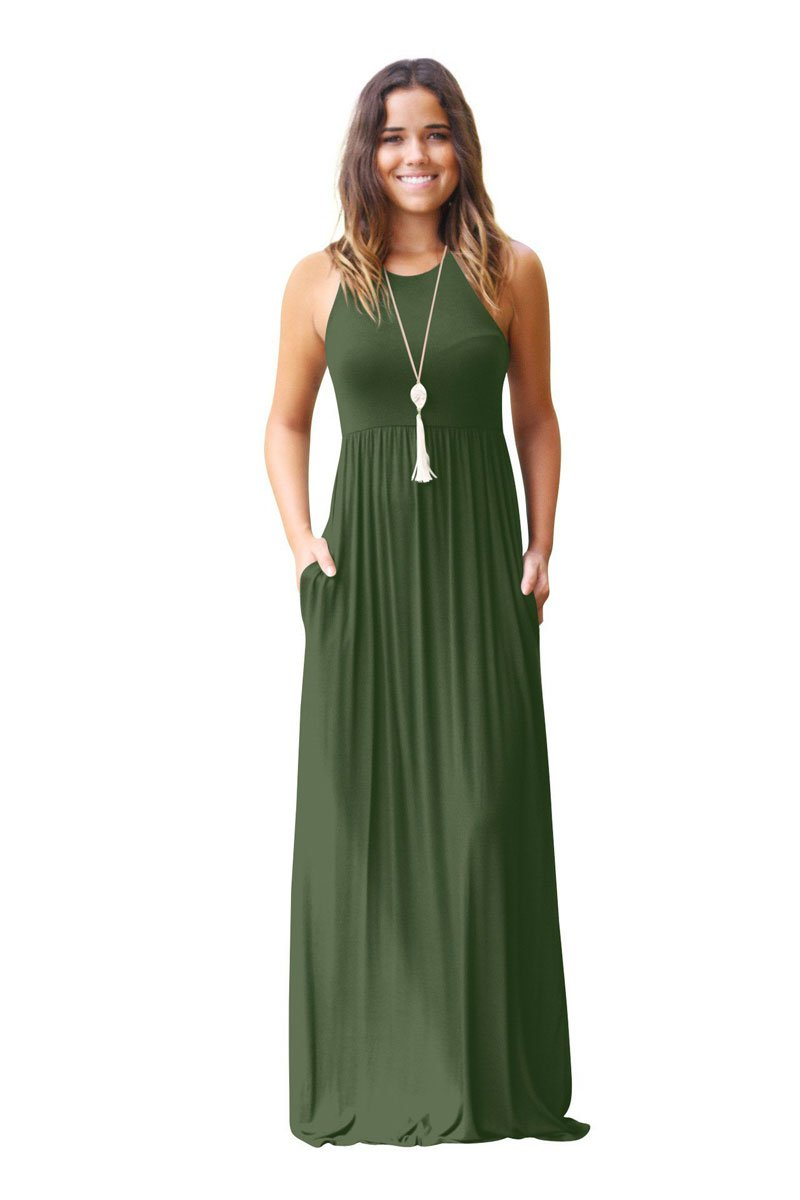 Sleeveless Maxi Dress with Pockets - Loosely Store