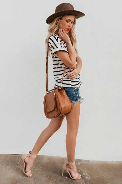 Striped Short Sleeved Round-Neck T-Shirt