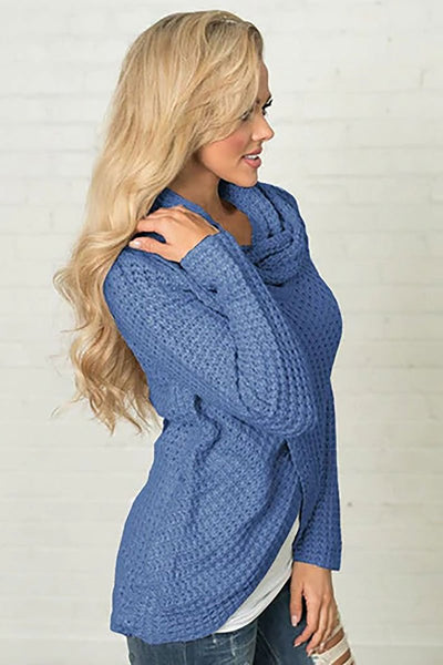 Asymmetrical Cowl Neck Pullover Sweater