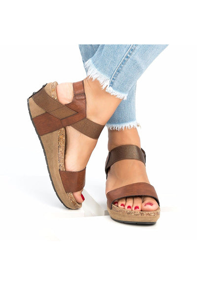 Slip On Double Band Wedge Sandals