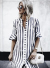 Striped Vintage Button Up Shirt Dress