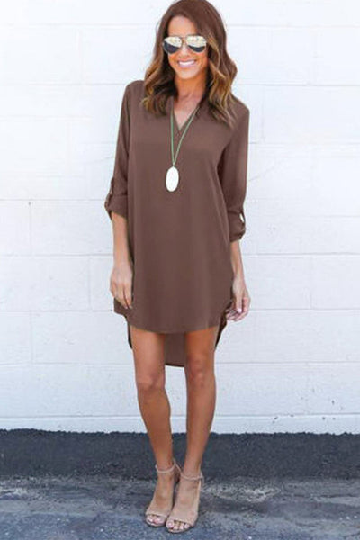Dipped Hem Cuffed Woven Dress