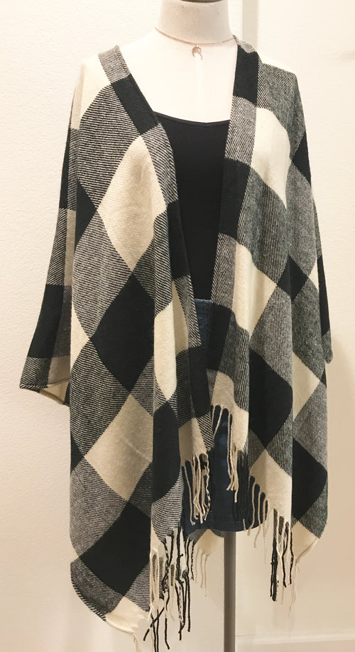 Black & White Plaid Pancho