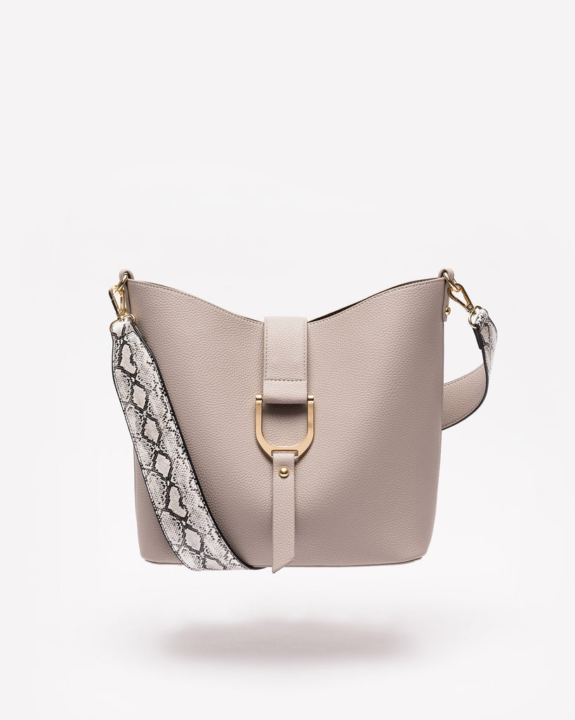 Audriana - Vegan Leather Messenger-Grey