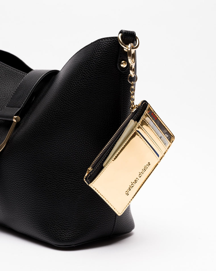 Cassandra - Credit Card + Coin Purse in Black & Gold