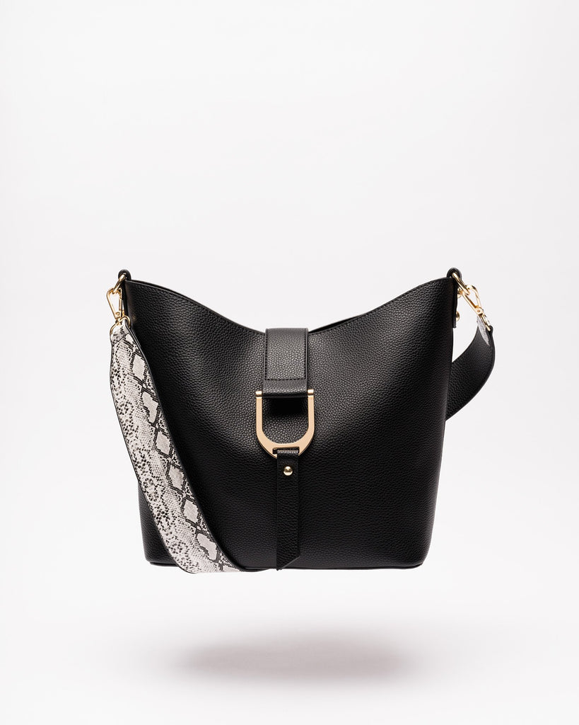 Audriana - Vegan Leather Messenger Black
