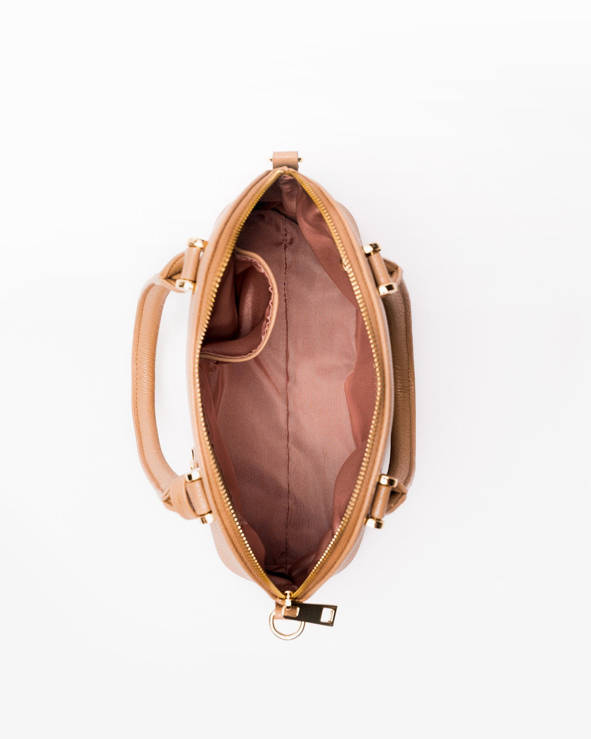 Devin - Vegan Leather Dome Satchel-Nude