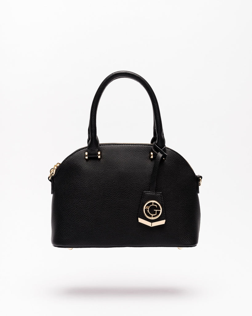 Devin - Vegan Leather Dome Satchel-Black