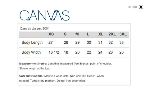 Canvas Sizing Chart
