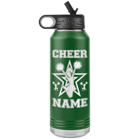 32oz Cheerleading Water Bottle Tumbler, Cheer Gifts green