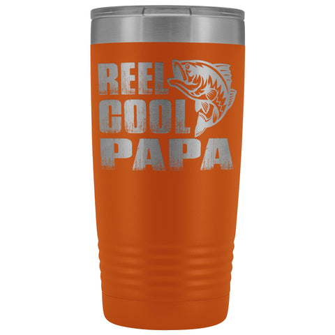Image of Reel Cool Papa Fishing Papa 20oz Tumbler design 2 orange