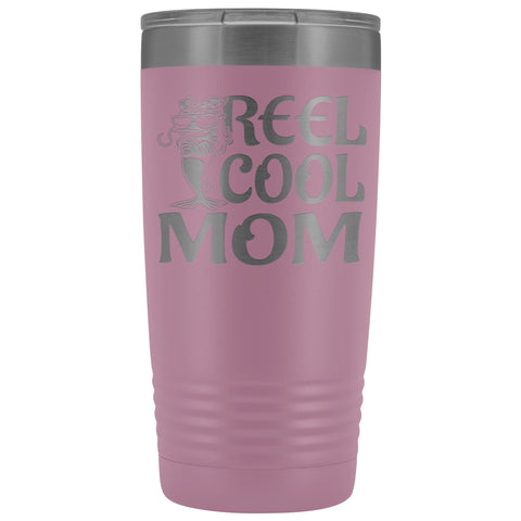 Image of Reel Cool Mom Fishing 20oz Tumbler Fishing Mom Gifts light purple