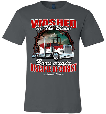 Image of Washed In The Blood Christian Trucker Shirts canvas asphalt