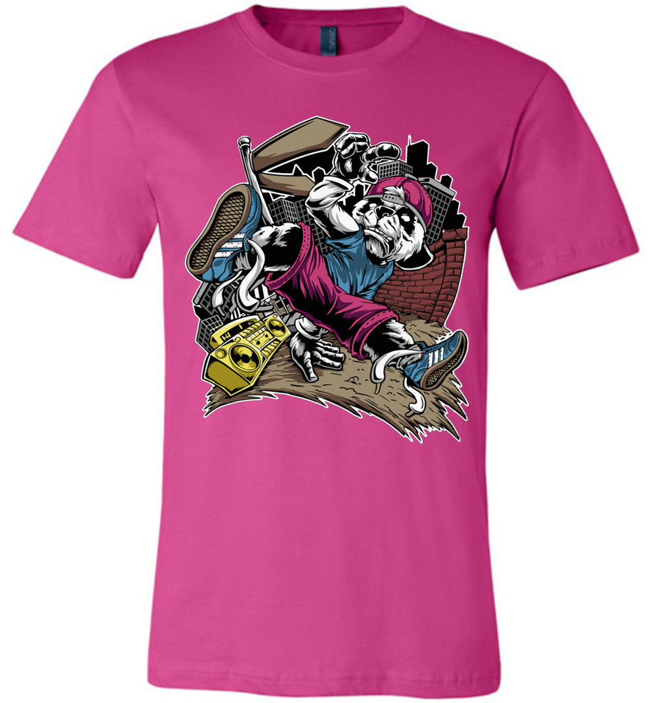 Break Dance Panda Hip Hop T Shirts berry
