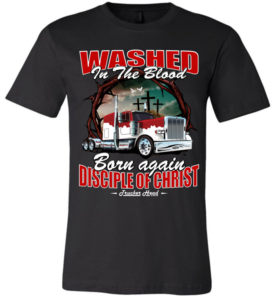 Washed In The Blood Christian Trucker Shirts canvas black