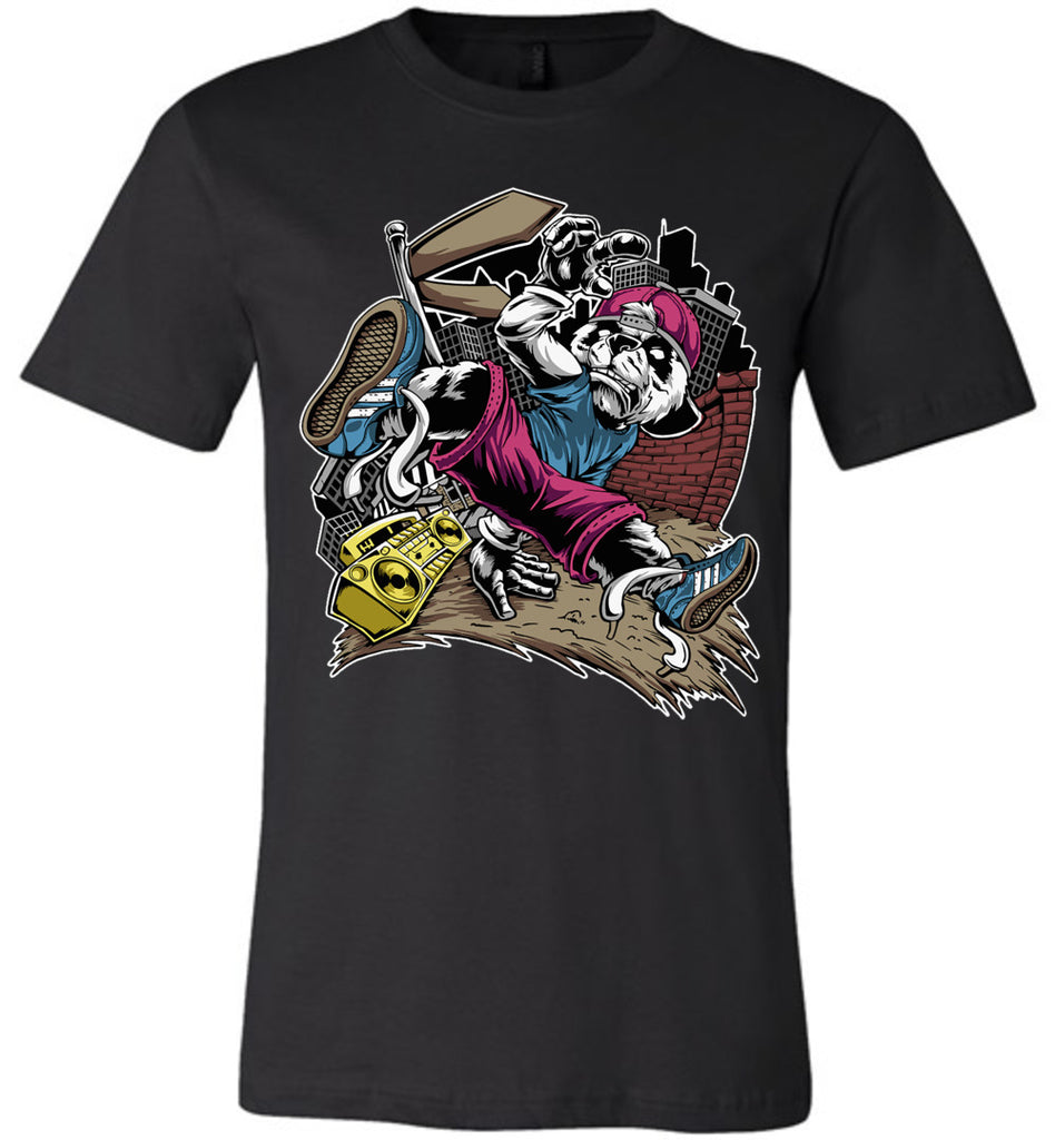 Break Dance Panda Hip Hop T Shirts black