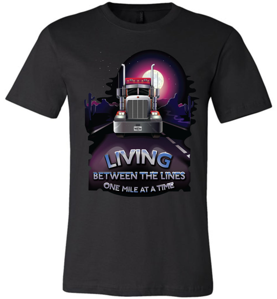 Trucker Shirts, Living Between The Lines Trucker T Shirts canvas black