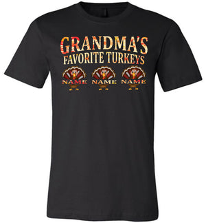 Grandma's Favorite Turkeys Funny Fall Shirts Funny Grandma Shirts black