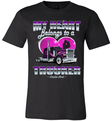 Image of My Heart Belongs To A Trucker Wife Shirt front print black