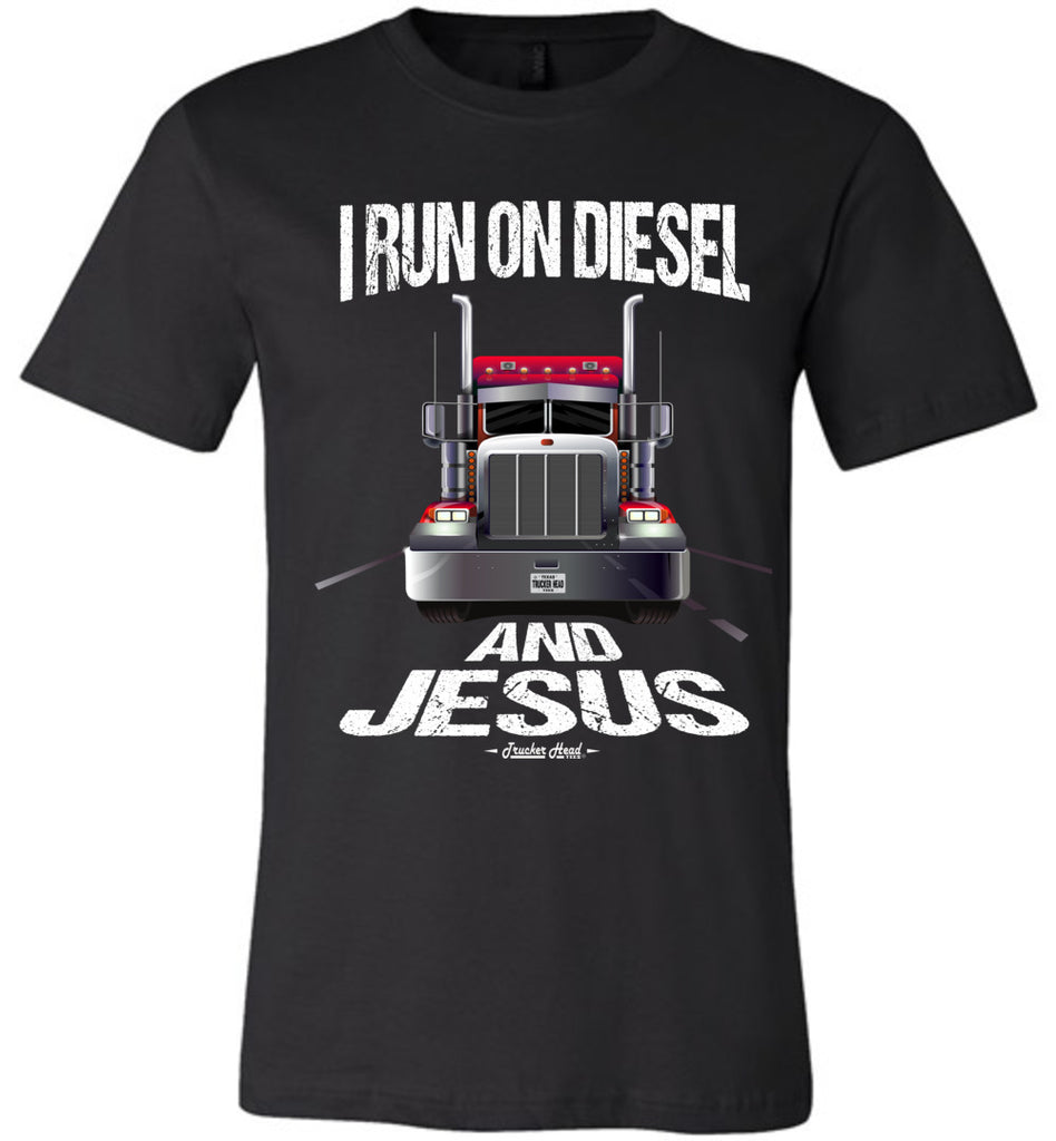 I Run On Diesel And Jesus Christian Trucker T Shirts black canvas crew