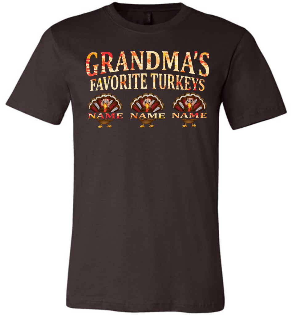 Grandma's Favorite Turkeys Funny Fall Shirts Funny Grandma Shirts brown
