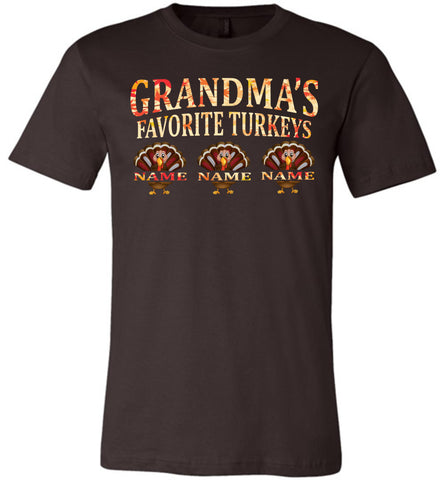 Image of Grandma's Favorite Turkeys Funny Fall Shirts Funny Grandma Shirts brown