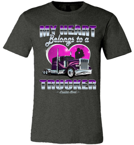 Image of My Heart Belongs To A Trucker Wife Shirt front print dark gray heather