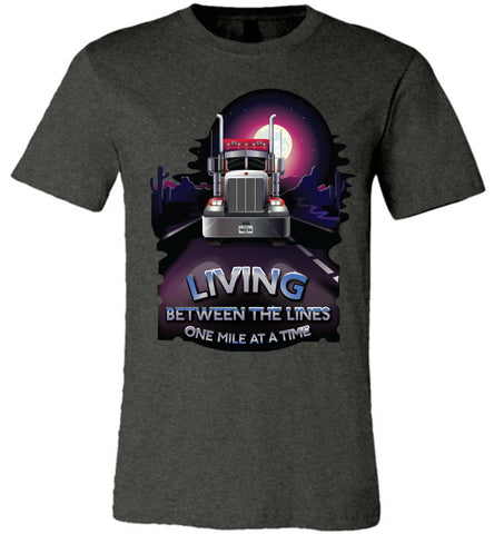 Image of Trucker Shirts, Living Between The Lines Trucker T Shirts canvas dk gray