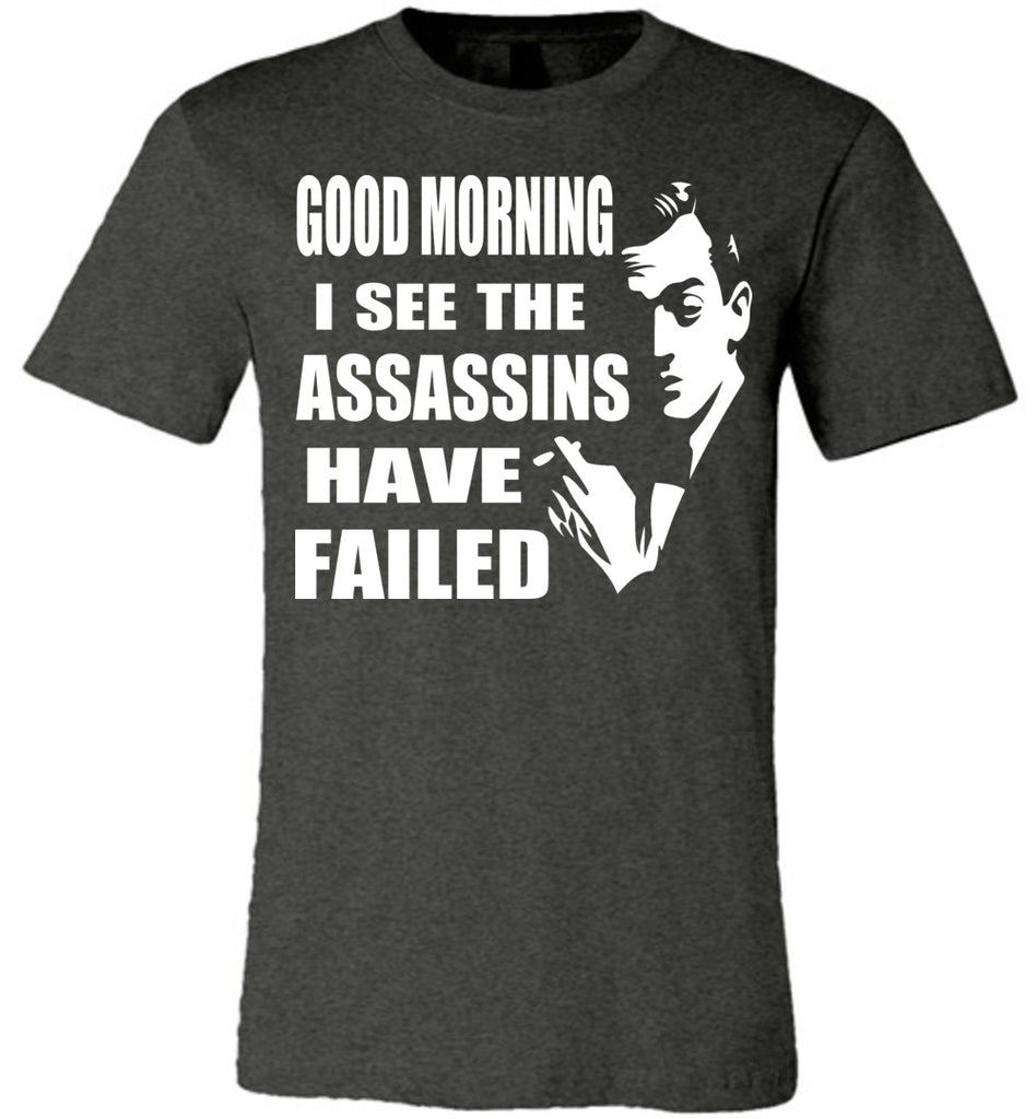 I See The Assassins Have Failed Funny Sarcastic T Shirts dark heather