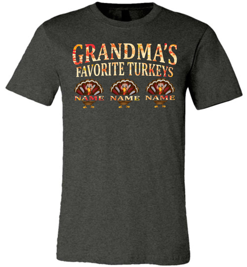 Grandma's Favorite Turkeys Funny Fall Shirts Funny Grandma Shirts dark heather