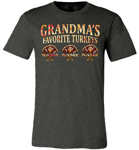 Image of Grandma's Favorite Turkeys Funny Fall Shirts Funny Grandma Shirts dark heather