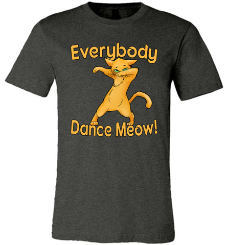 Image of Everybody Dance Meow Funny Dance Shirts dark gray heather