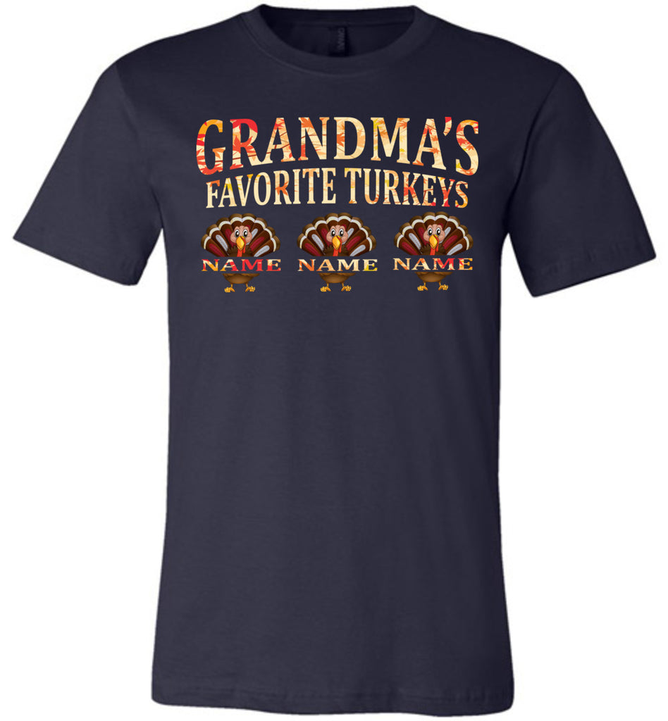 Grandma's Favorite Turkeys Funny Fall Shirts Funny Grandma Shirts navy