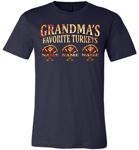 Image of Grandma's Favorite Turkeys Funny Fall Shirts Funny Grandma Shirts navy