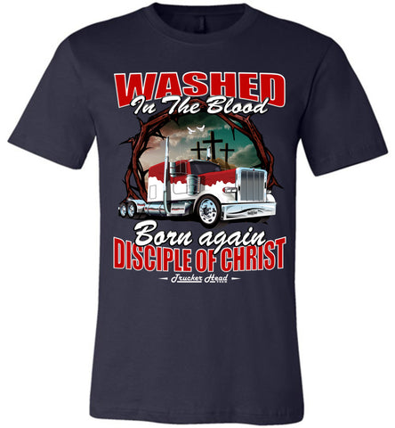 Image of Washed In The Blood Christian Trucker Shirts canvas navy