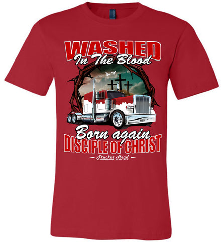 Image of Washed In The Blood Christian Trucker Shirts canvas red