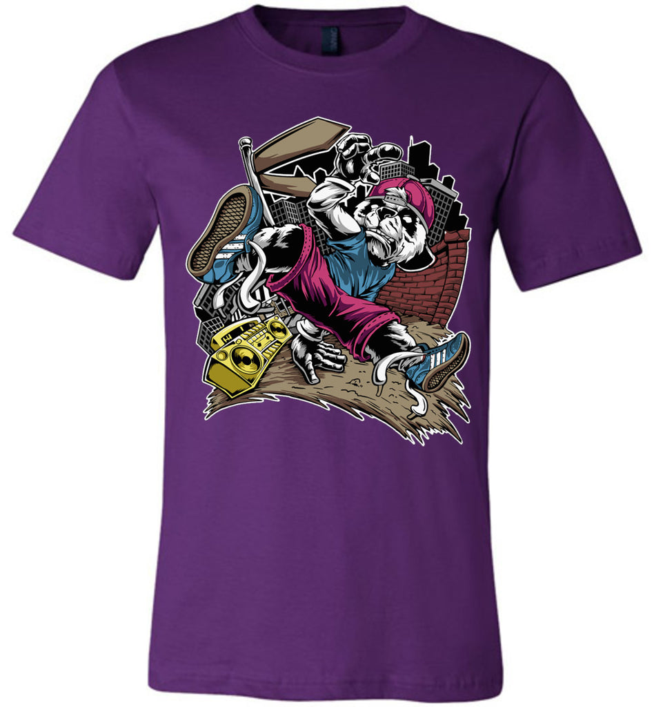 Break Dance Panda Hip Hop T Shirts purple