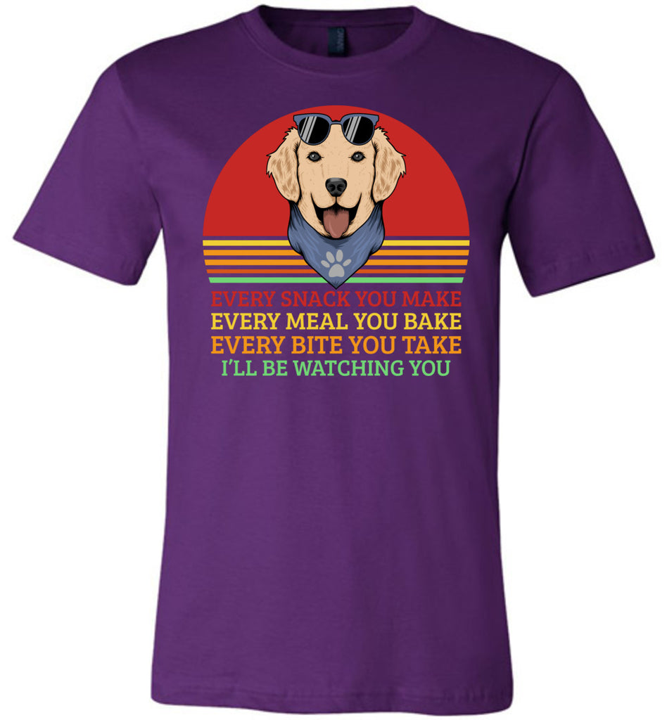 I'll Be Watching You Funny Dog T Shirt purple