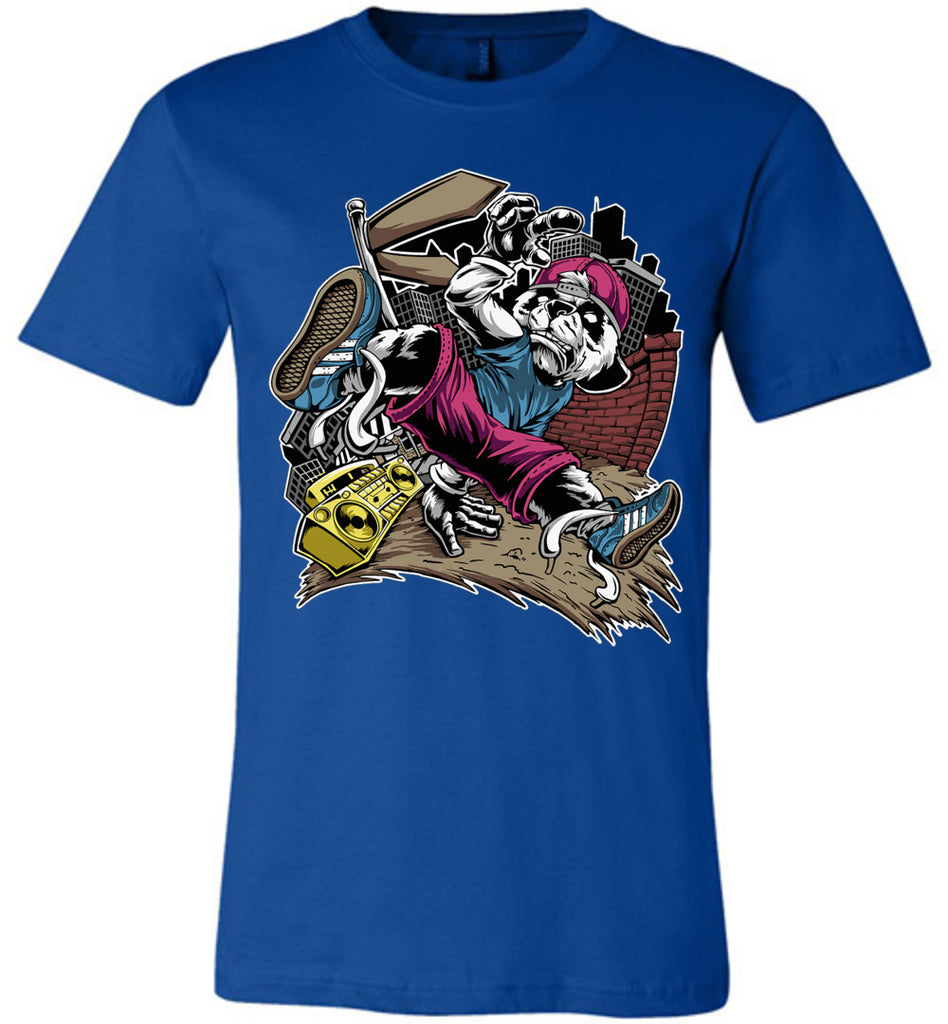 Break Dance Panda Hip Hop T Shirts royal