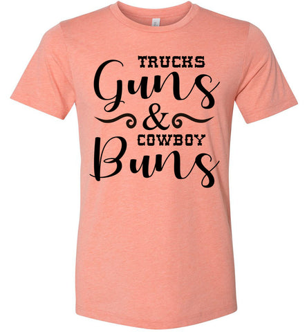 Image of Trucks Guns And Cowboy Buns Country Cowgirl Girl T Shirts heather sunset