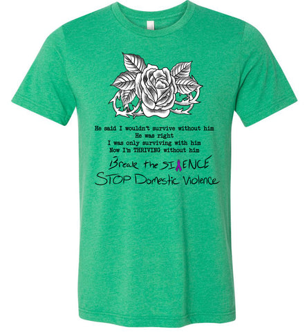 Domestic Violence T-Shirts Kelly heather green