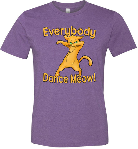 Image of Everybody Dance Meow Funny Dance Shirts heather purple