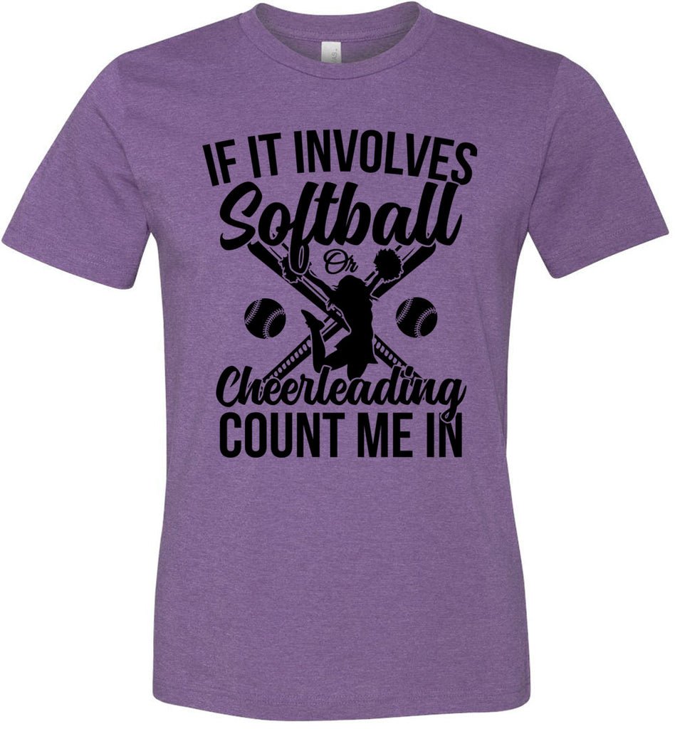 Softball Or Cheerleading Count Me In Softball Shirts heather team purple