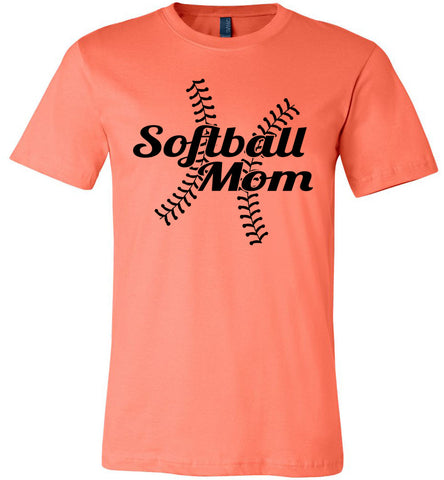 Image of Softball Mom Shirts coral
