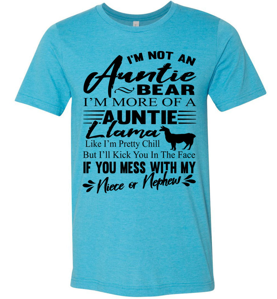 Auntie Llama Shirt | Auntie Bear Shirt | Funny Aunt Shirts heathered aqua