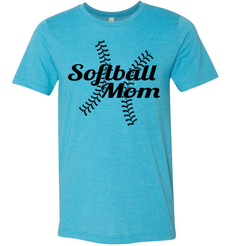 Image of Softball Mom Shirts heather aqua