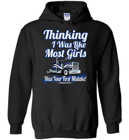 Image of Thinking I Was Like Most Girls Was Your First Mistake Women's Trucker Hoodie black